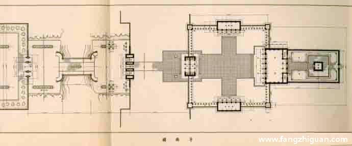 伪满洲国建国忠灵庙鸟瞰图、配置图、平面图、立面图、剖面图