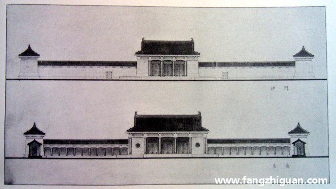 其他文献上的伪满洲国建国忠灵庙内廷建筑立面图