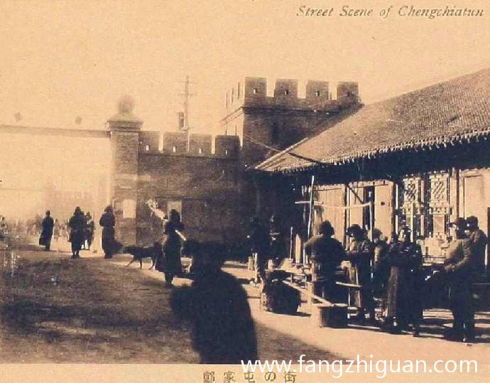 伪满时期的郑家屯市街,可以看到当时已在城内砌筑高墙头、增设城门