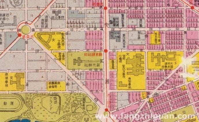 """康德六年(1939年)出版的""""新京市街地图""""上的""""新京神社""""位置"""