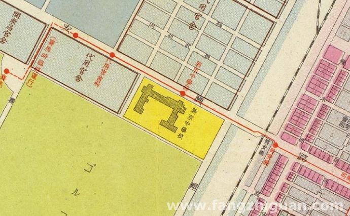 伪满康德六年最新新京市街地图上的新京中学校位置