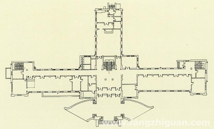 伪满洲国司法部的一层建筑平面图