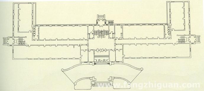 伪满洲国交通部一层建筑平面图