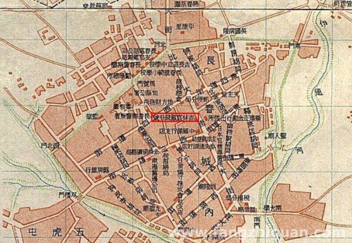 1922年以前的长春地图局部,图中红框位置即为当时的吉林永衡官银钱号长春分号址,即后来的满洲中央银行早期的总行位置。