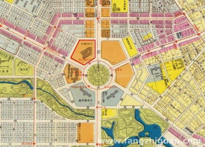 伪满康德六年(1939年)最新新京市街地图上的大同广场满洲中央银行总行新址,此时该建筑刚刚建成。