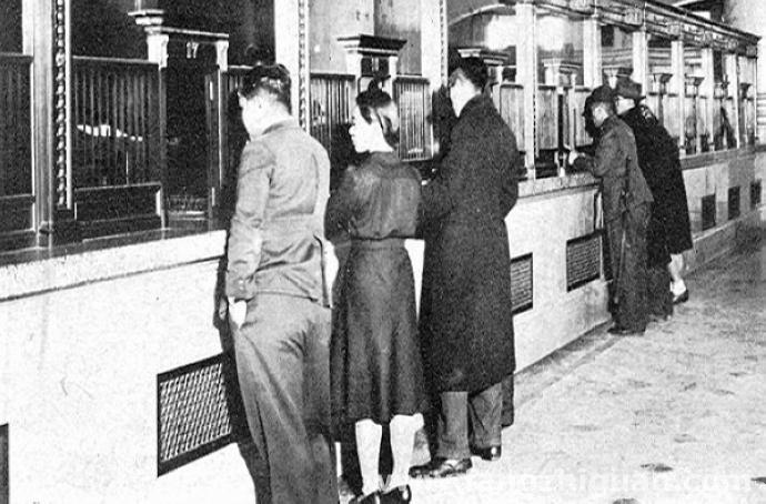 伪满时期的满洲中央银行总行营业室会计记账窗口