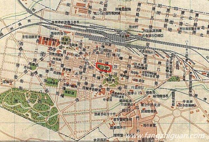 1919年长春地图(局部),图中红线区域内即为当时的东公园